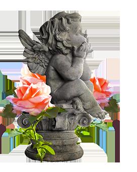 garden angel statue pink roses