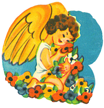 angel clip art with flowers