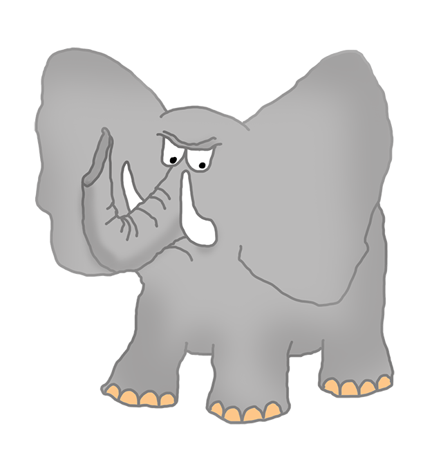 angry elephant clipart