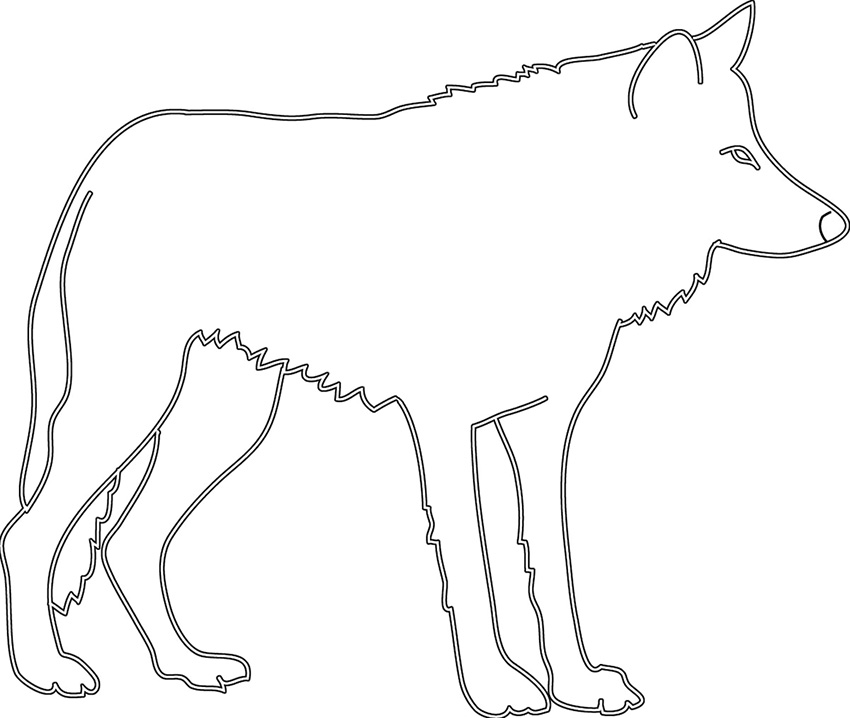 silhouette sketch of wolf sideways
