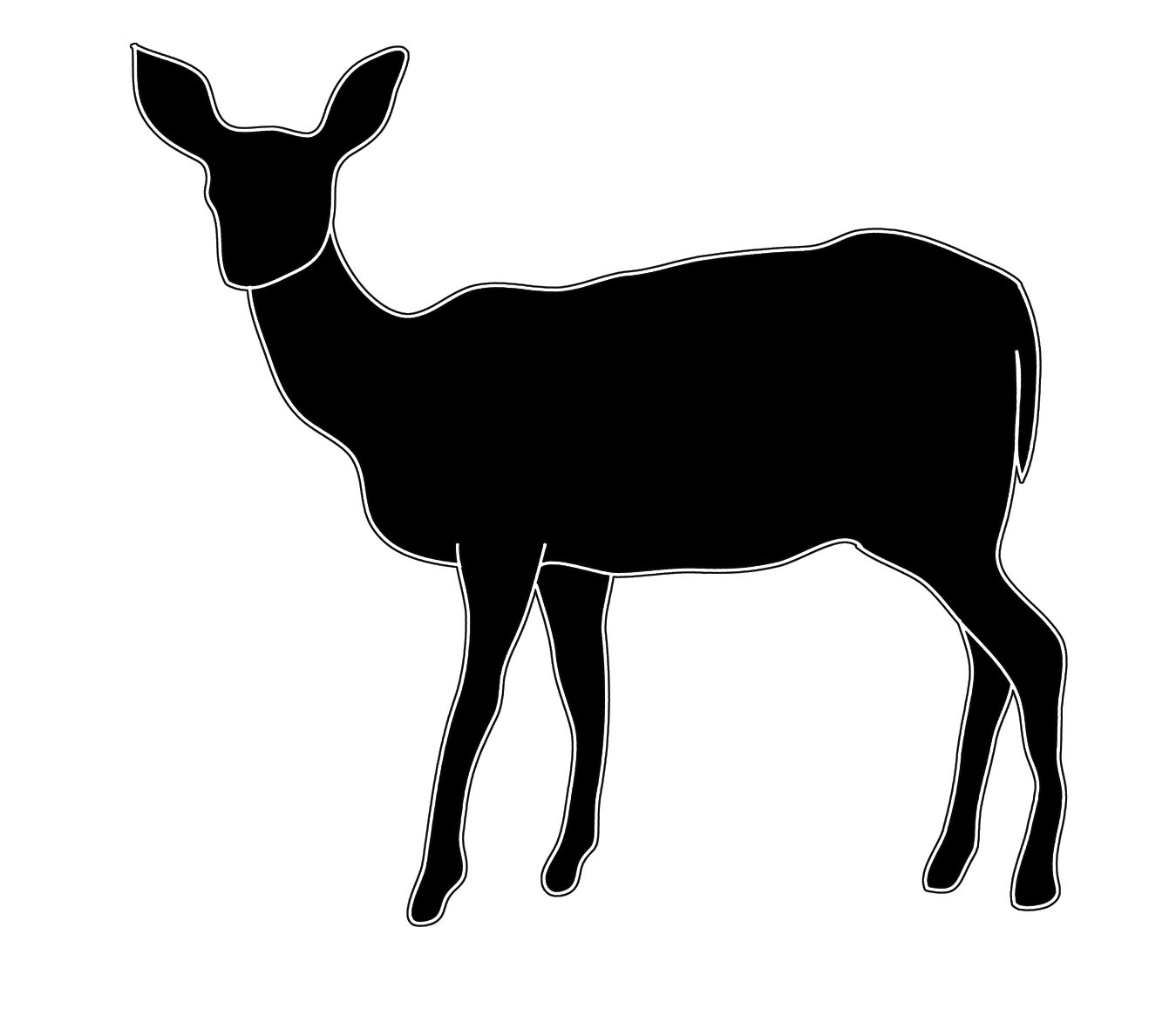 silhouette sketch of female deer