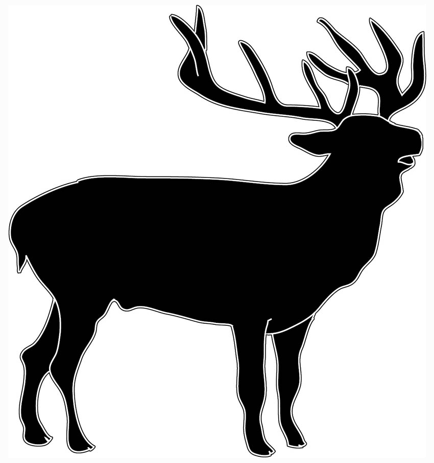 black white deer silhouette of stag