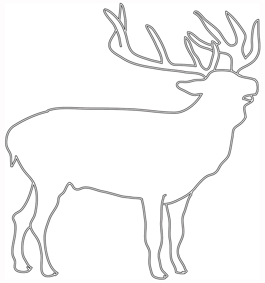 silhouette sketch of deer stag