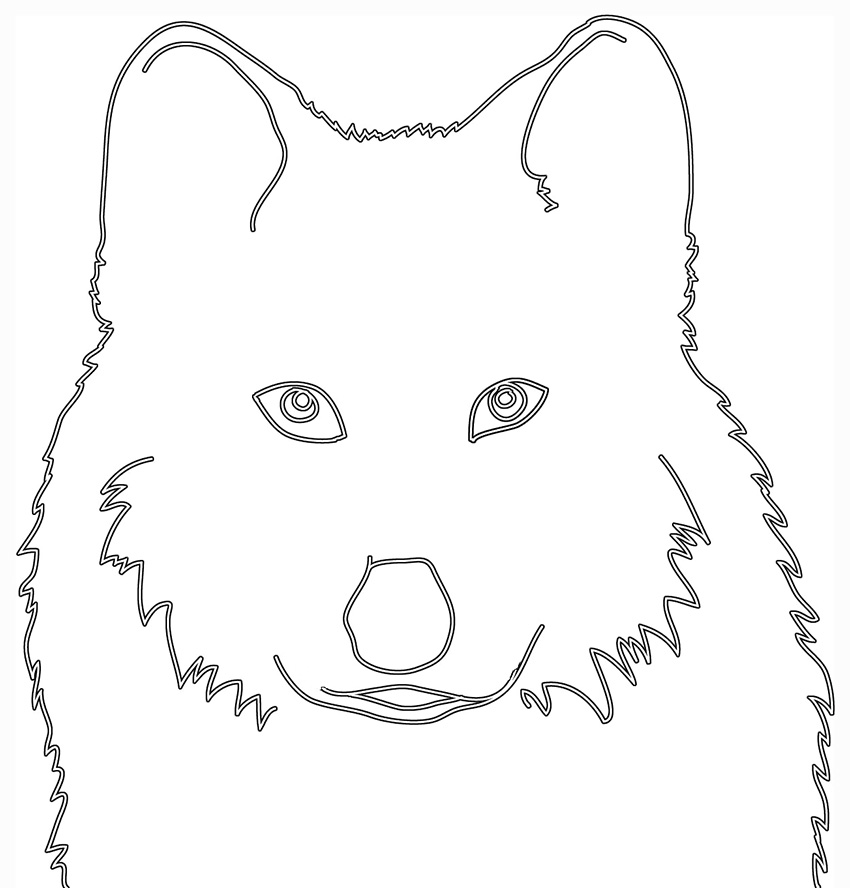 silhouette sketch of wolfs head