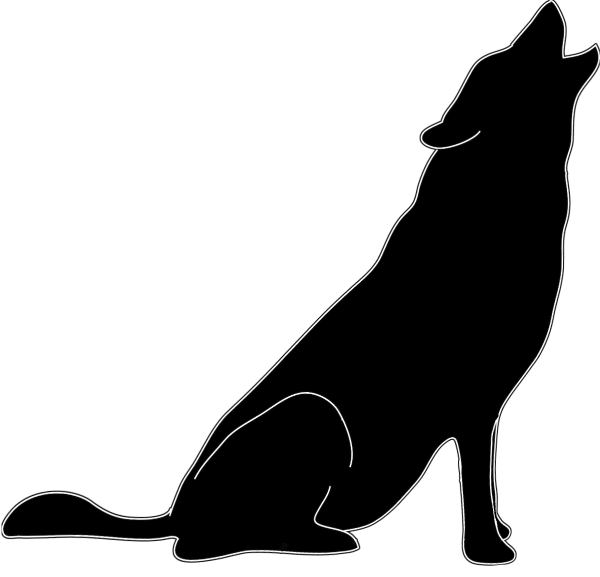Silhouette in black white howling wolf