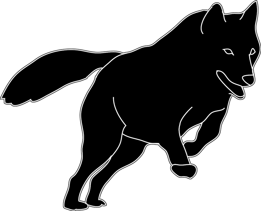 black white silhouette jumping wolf