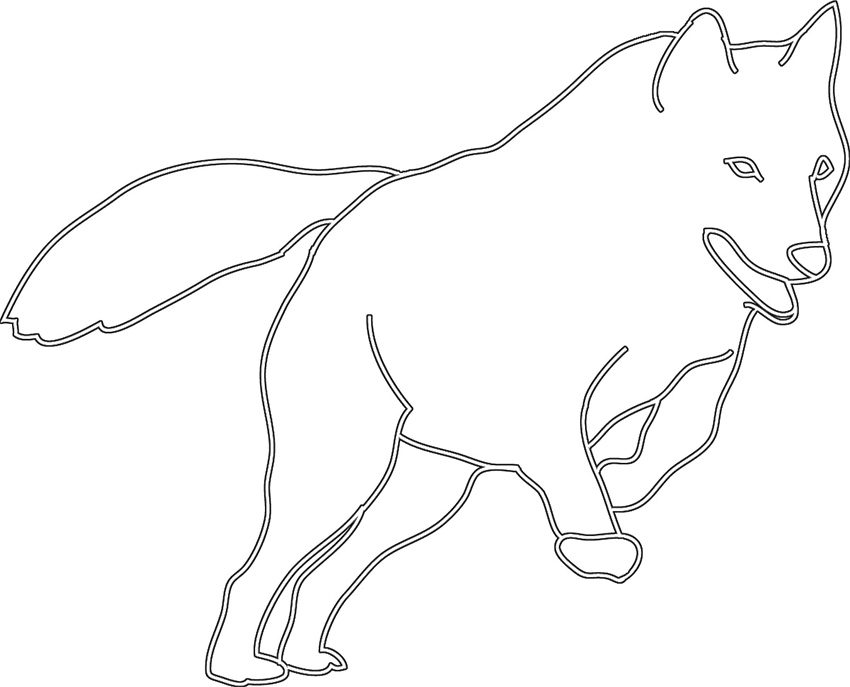 silhouette sketch of jumping wolf