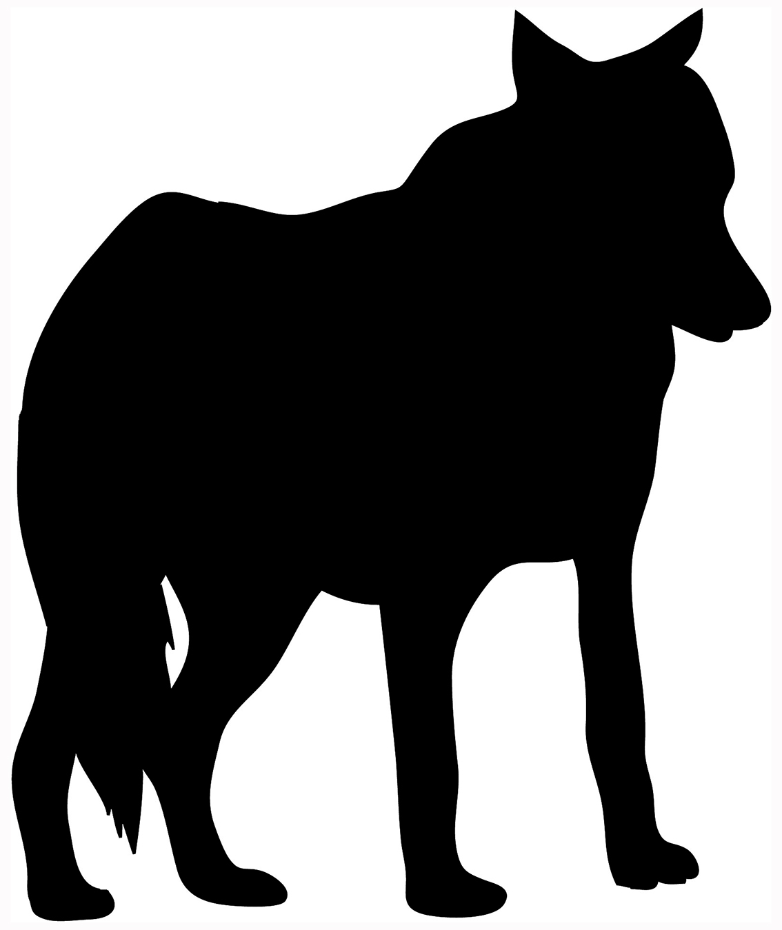 black silhouette of standing wolf