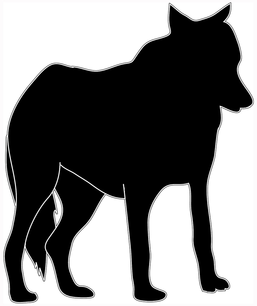 black white silhouette of standing wolf