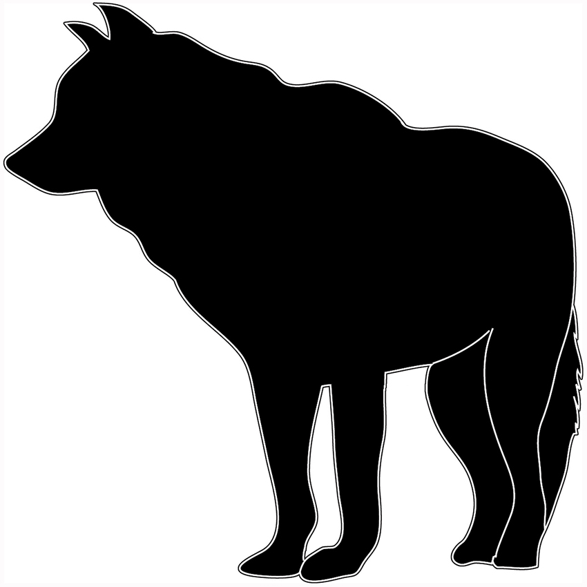 black white silhouette wolf standing