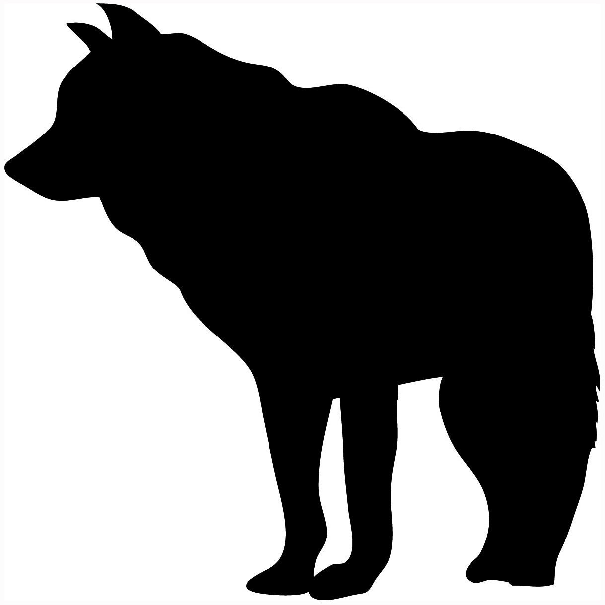silhouette of standing wolf
