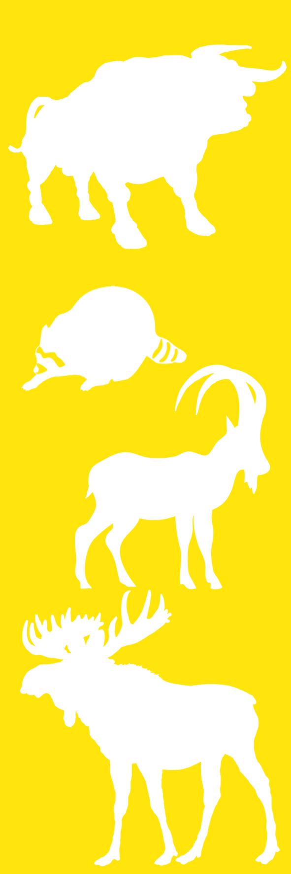 yellow bookmark with animals
