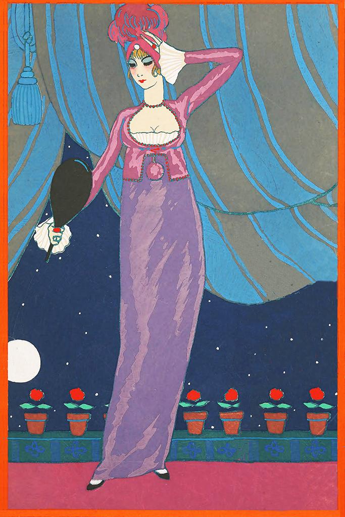 Purple Art deco style postcard