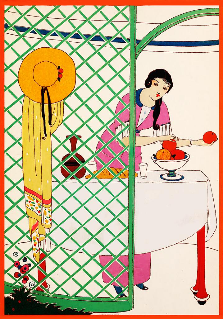 art deco clipart woman fruit