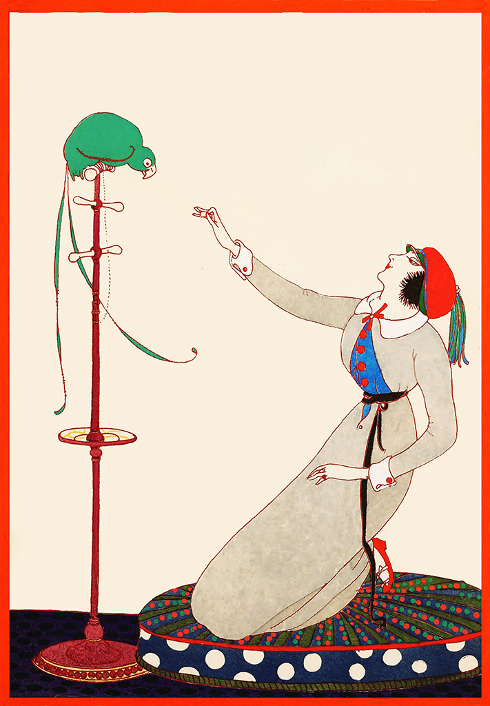 Woman feeding parrot postcard art deco