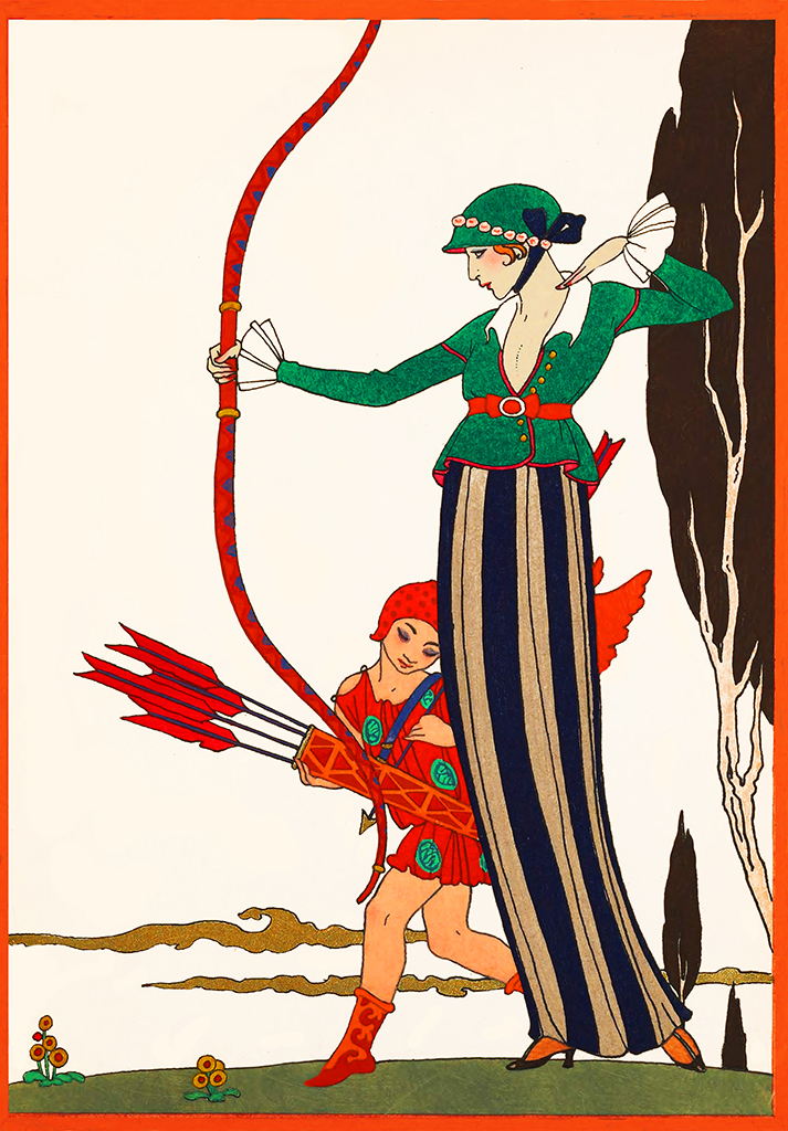 woman with bow and arrow art deco art nouveau
