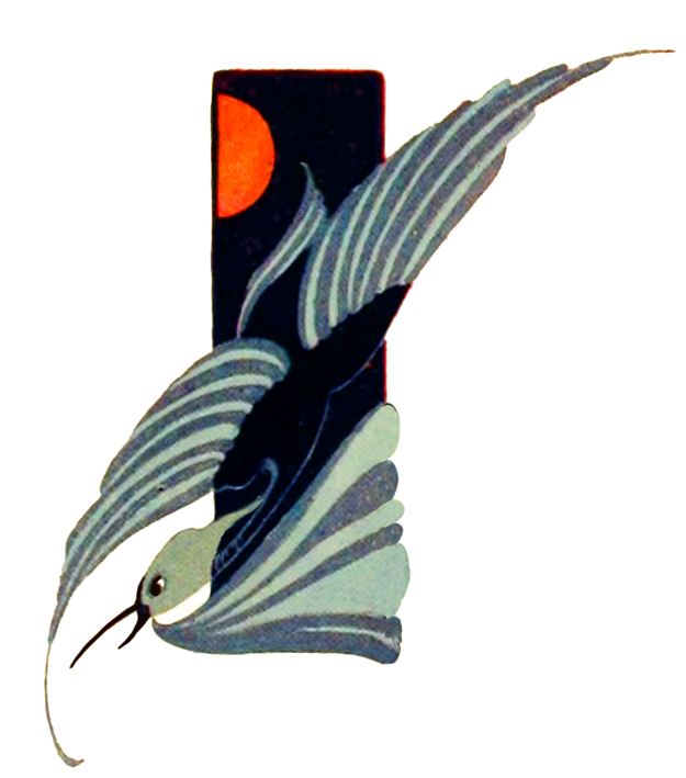 art nouveau bird and sun