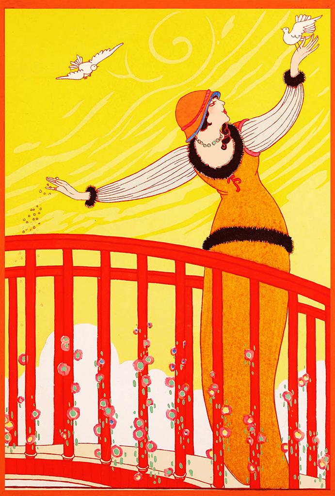 Art deco art nouveau postcard woman birds