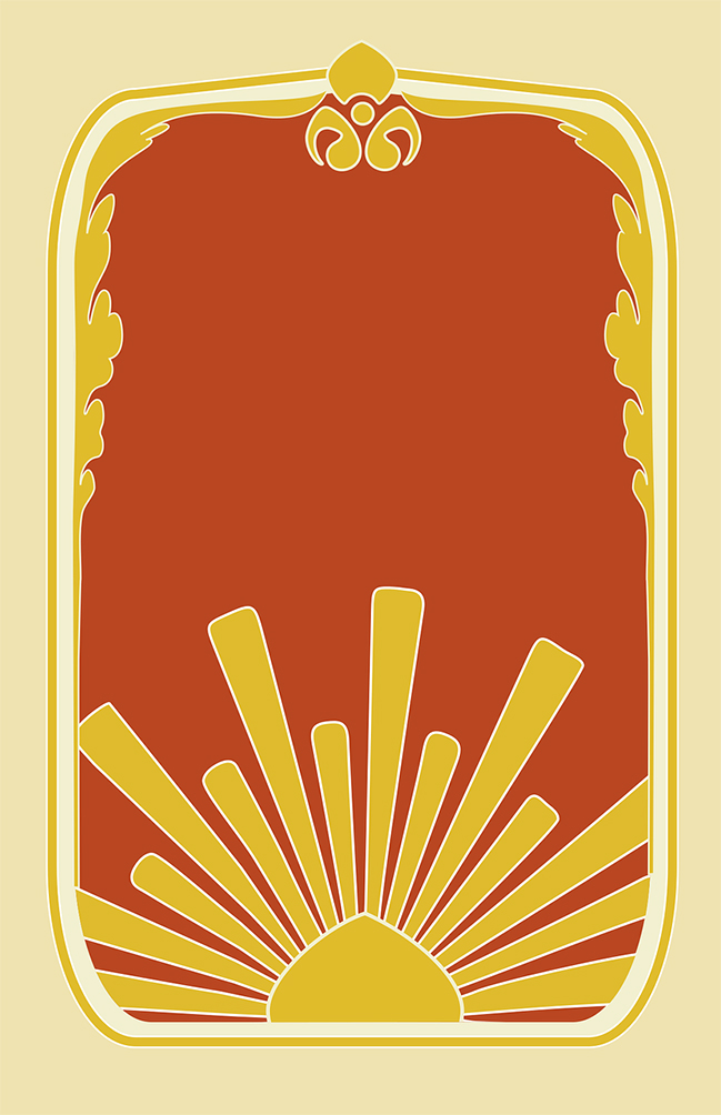 art nouveau frame yellow orange