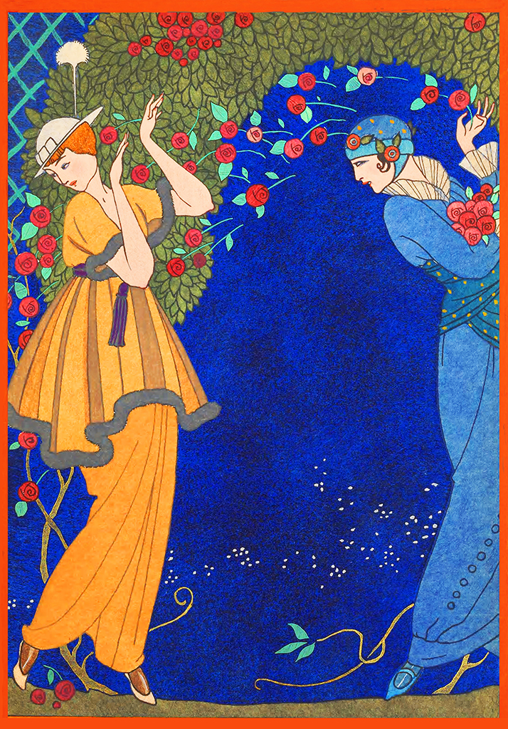Two woman in blue and flower art nouveau