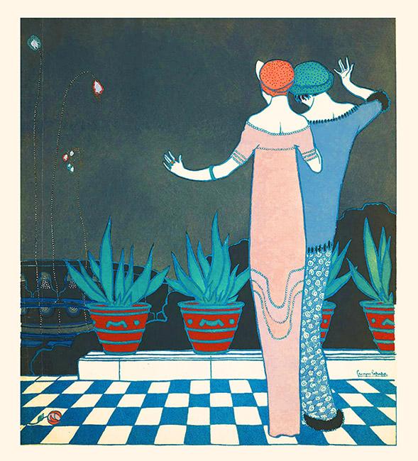 art nouveau painting two women firework