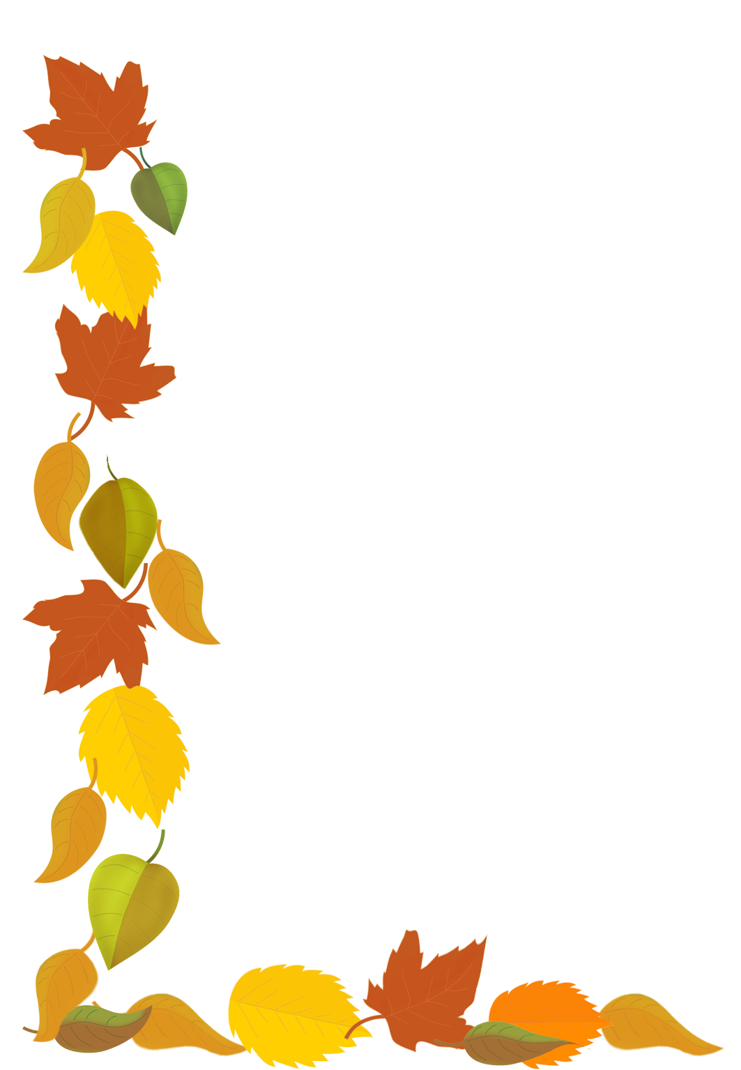 fall border with drawings of fall leaves