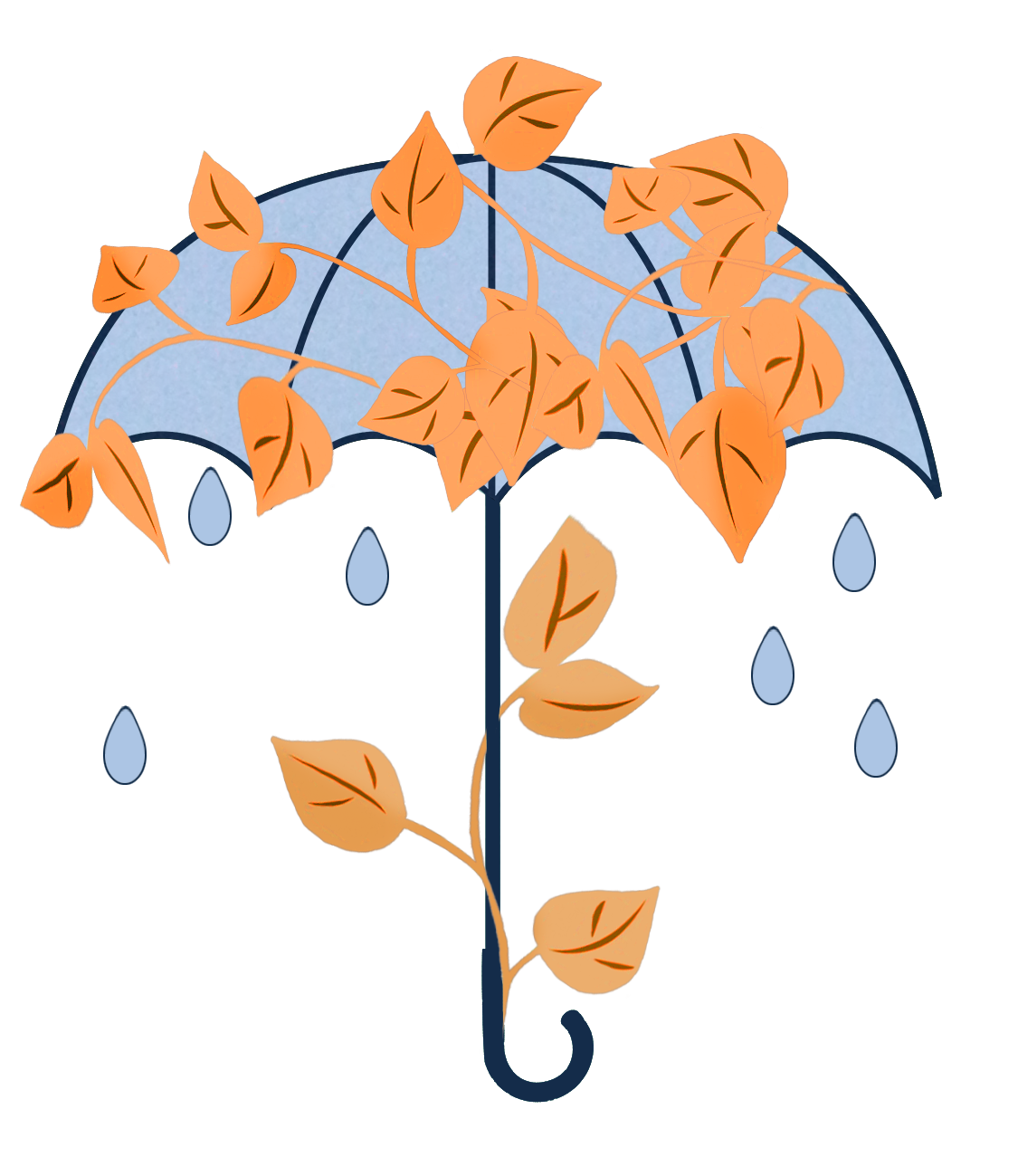 autumn umbrella with leaves and rain drops
