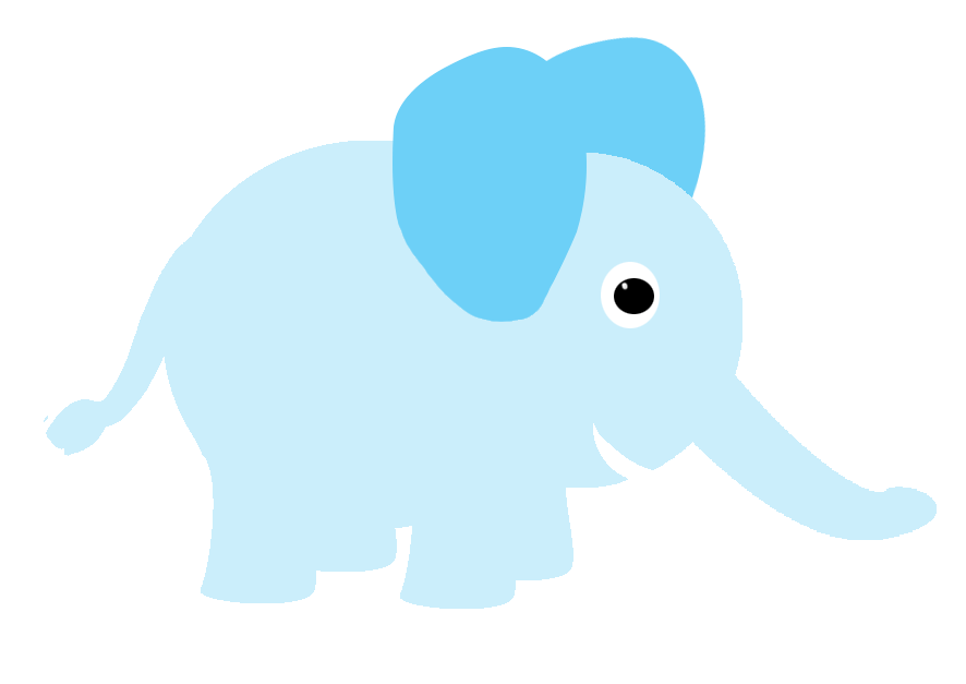 baby blue circle elephant drawing