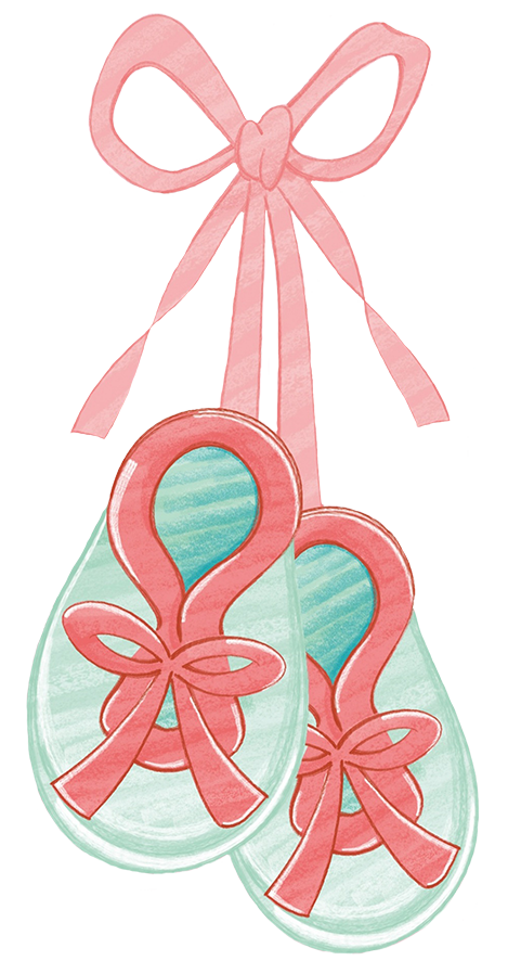 baby booties clipart red ribbon