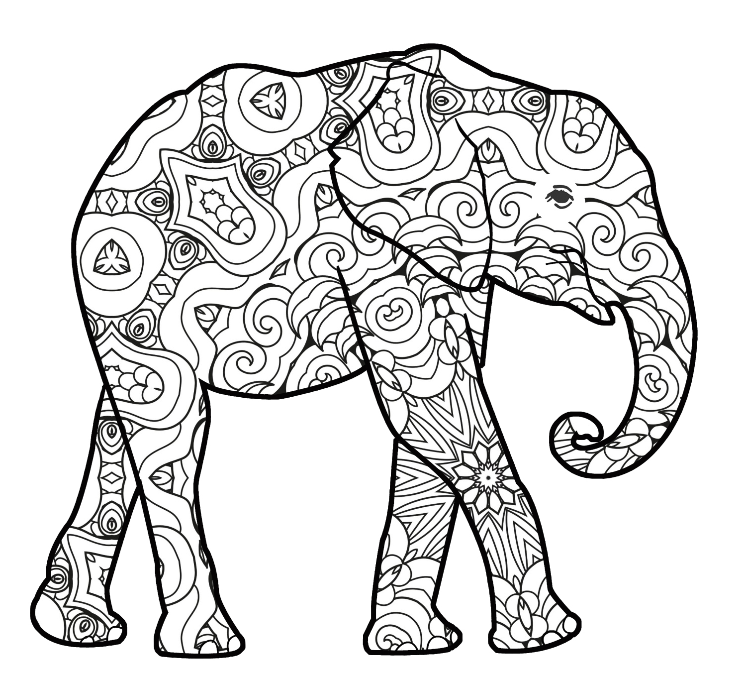 baby elephant with pattern for coloring