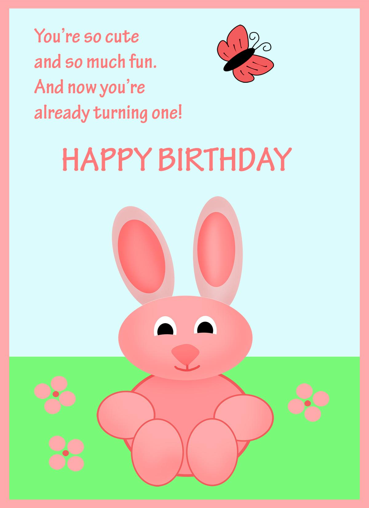 1st birthday card with poem