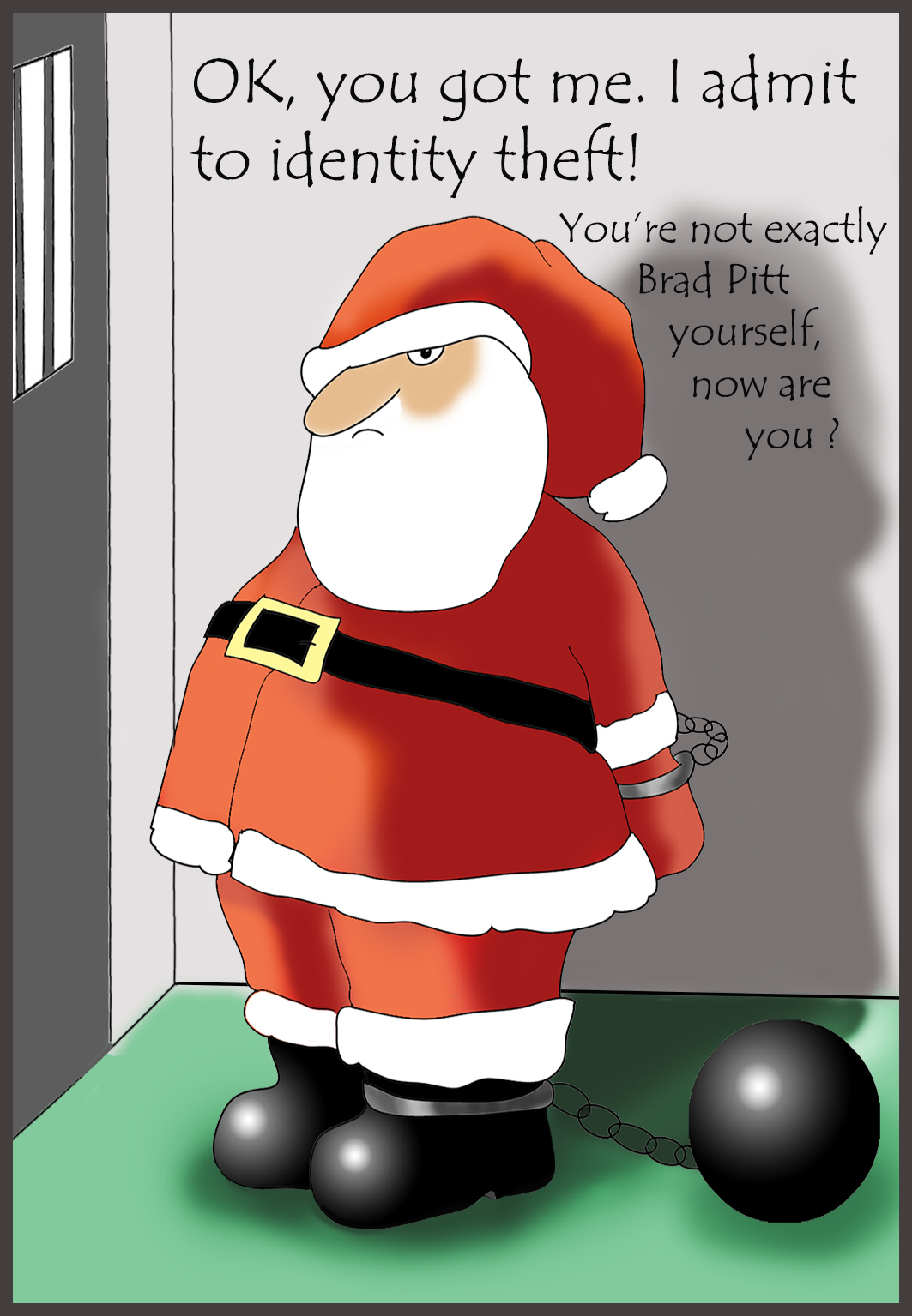 Christmas card with Santa in prison