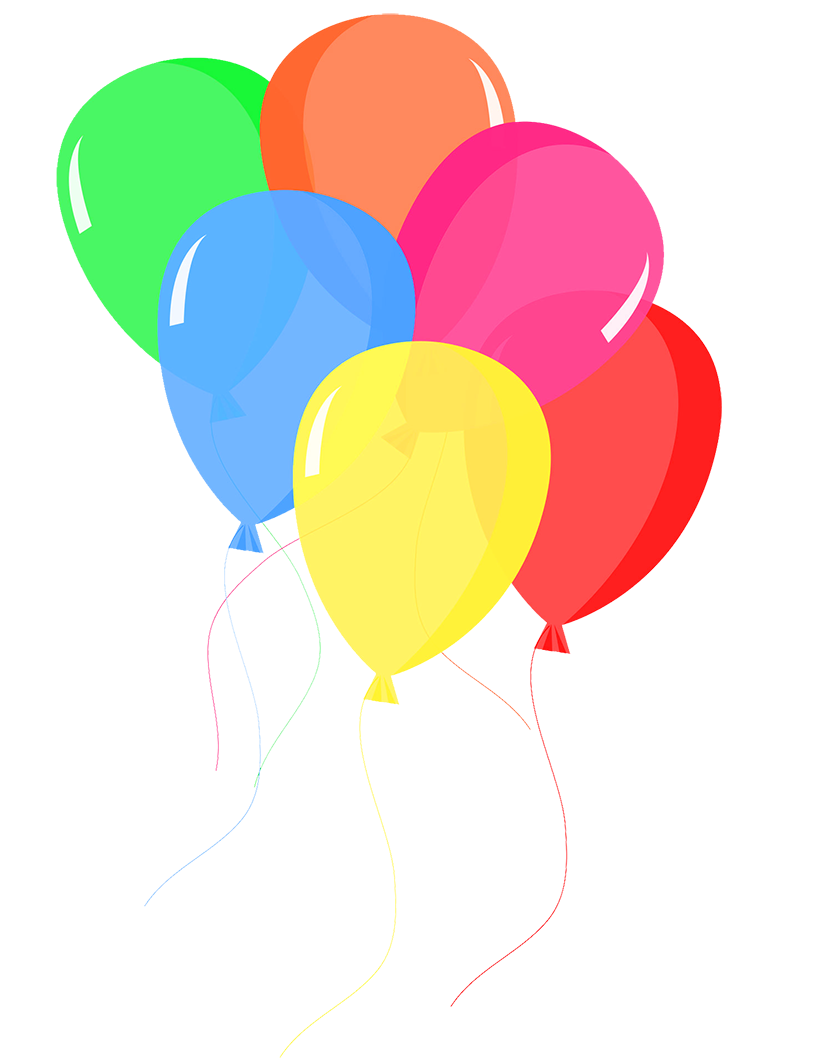 colorful balloons in rainbow colors