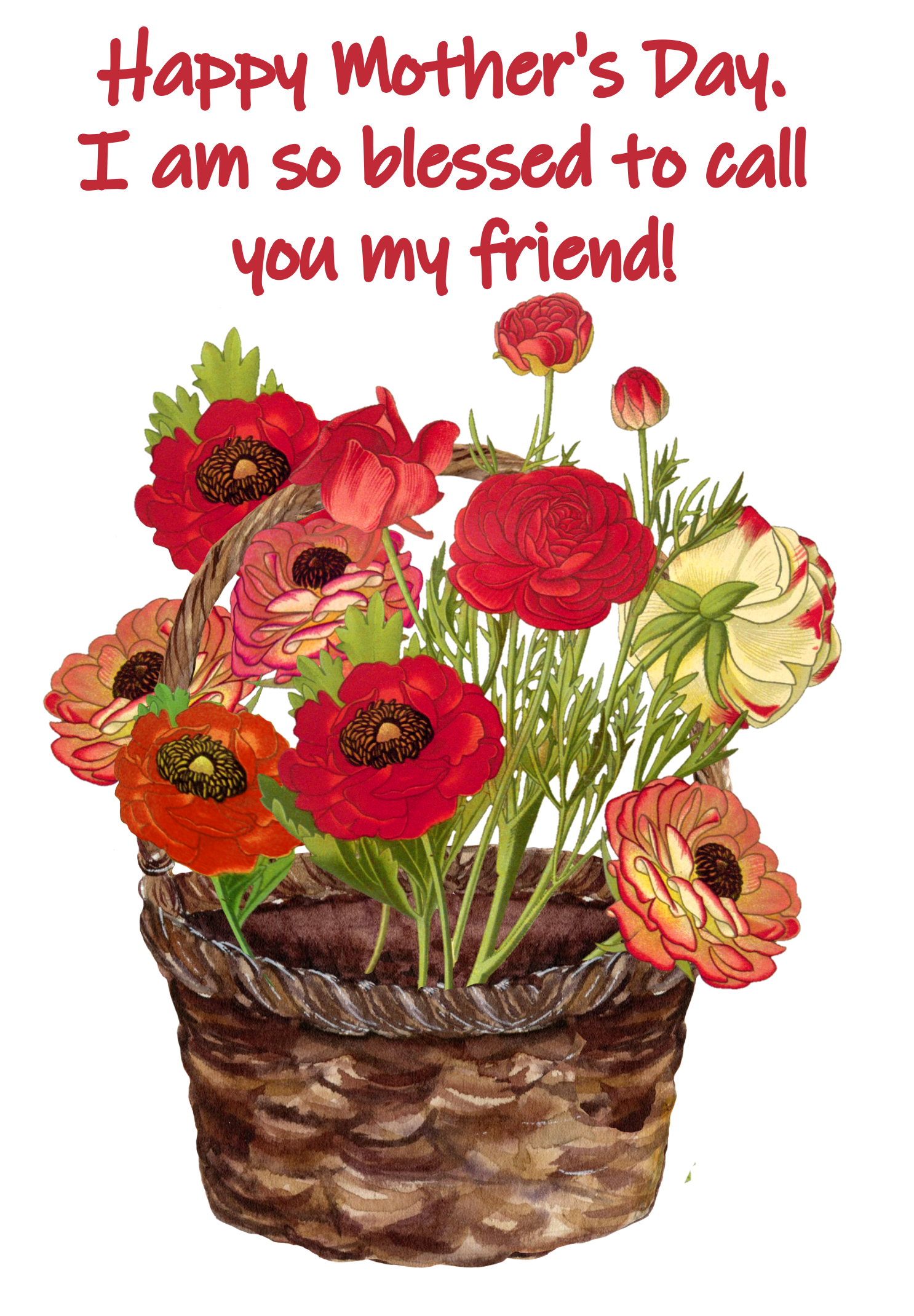 basket with flowers for friend mother's day