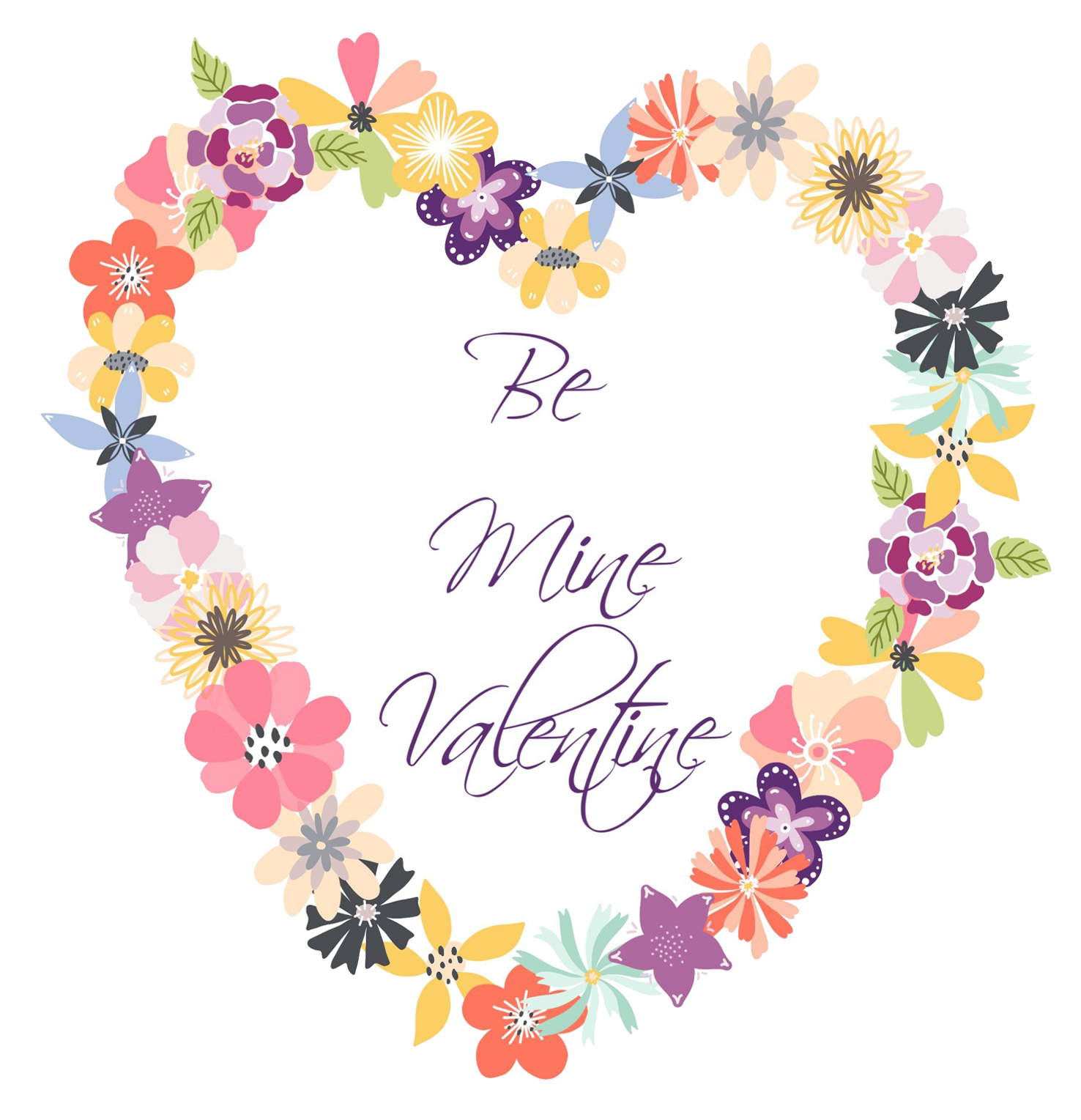 Be mine Valentine-heart flowers