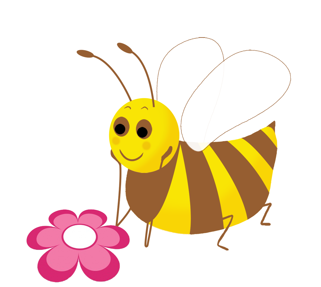 bee clip art with flower pink