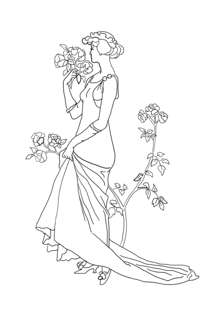 beautiful princess with roses for coloring