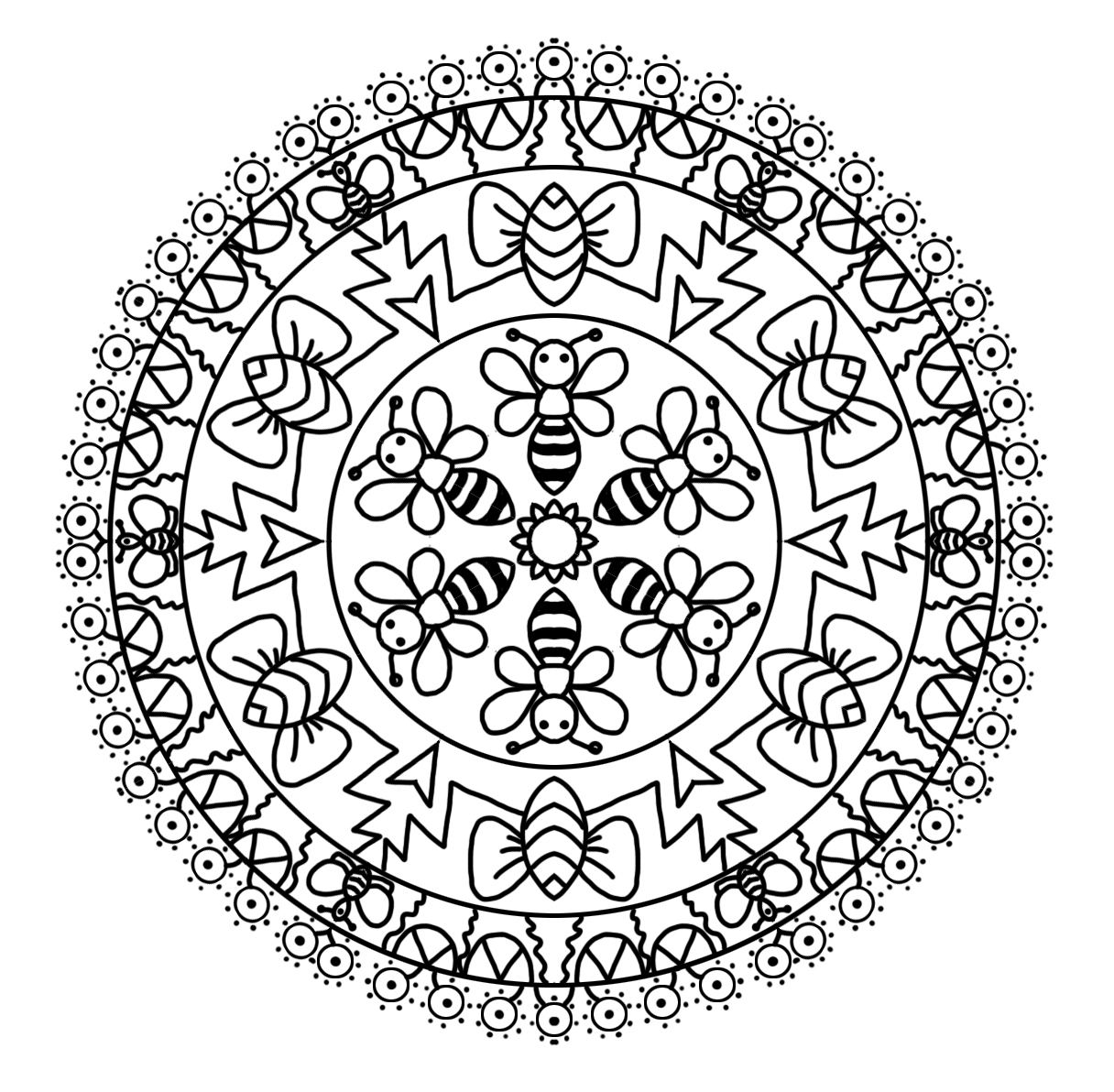Bee motive coloring mandala page