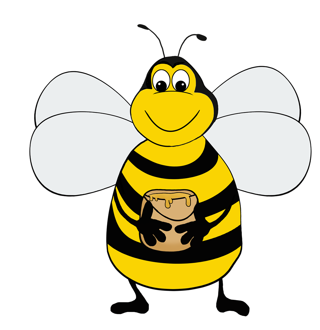 bee with honey clipart
