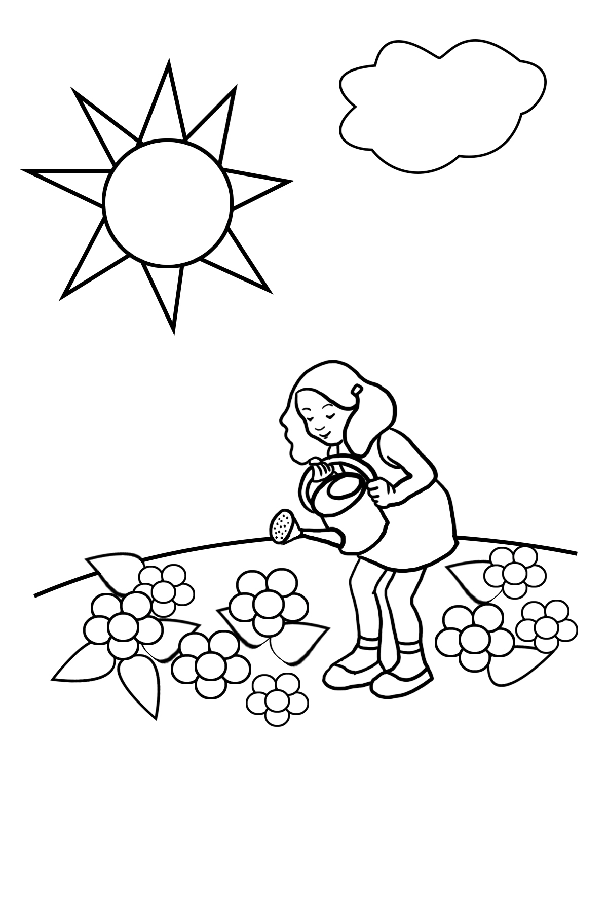 girl watering flowers and sun