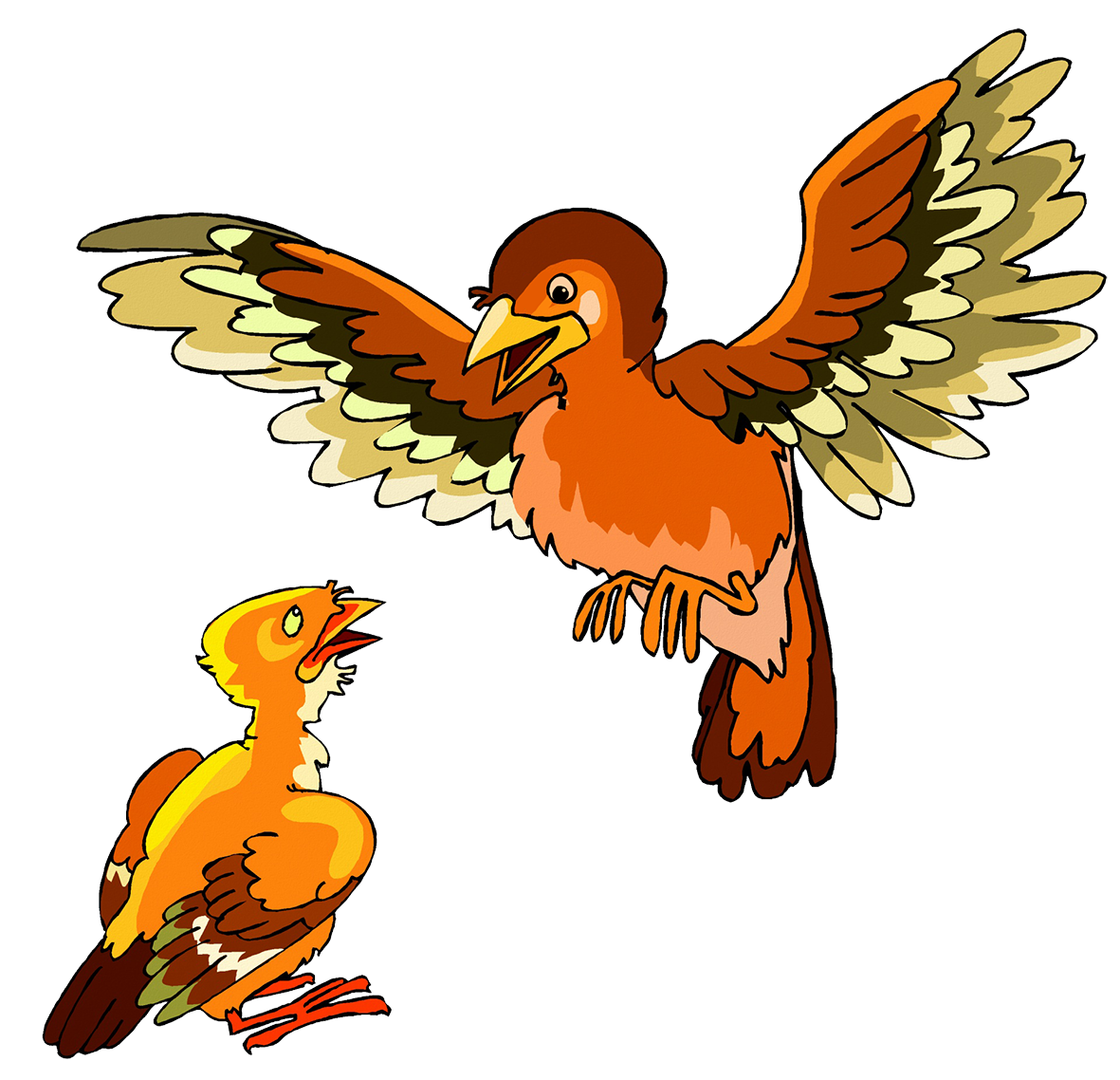 flying bird and chick