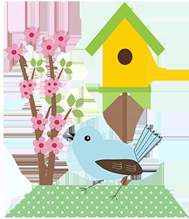 bird and birdhouse clipart
