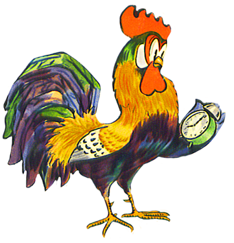 Rooster with clock