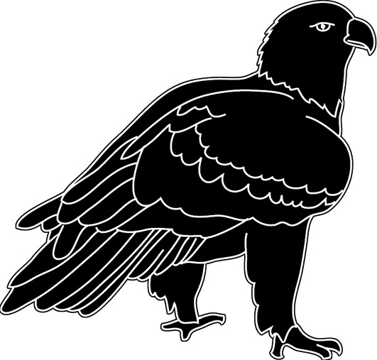 black white silhouette of eagle