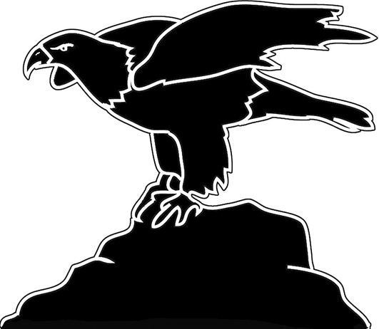 Eagle on cliff silhouette