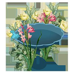 birdbath in flower garden clipart