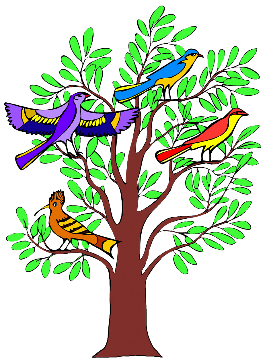 birds in a tree clipart
