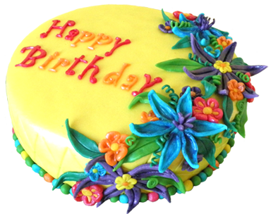 birthday cake with flower decoration
