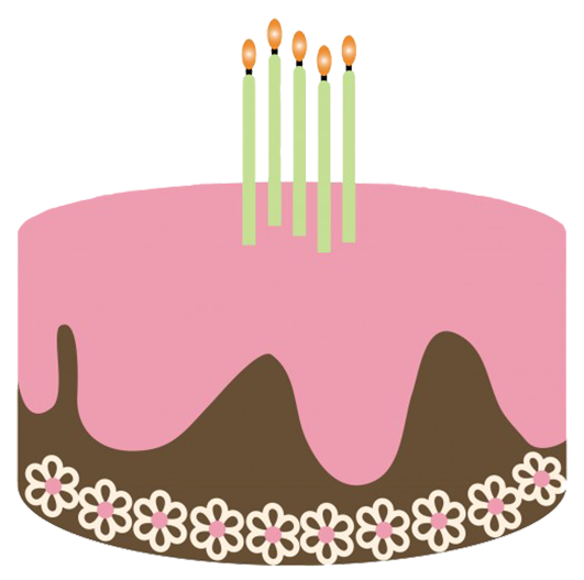 Happy Birthday Clip Art With Cake JPEG Four Candles