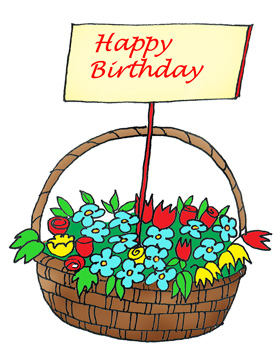 basket with flowers happy birthday